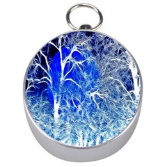 Winter Blue Moon Fractal Forest Background Silver Compasses by Simbadda