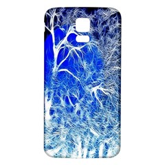 Winter Blue Moon Fractal Forest Background Samsung Galaxy S5 Back Case (white) by Simbadda