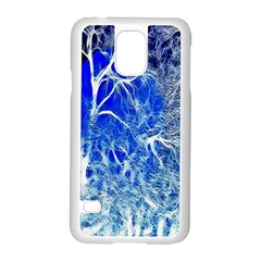 Winter Blue Moon Fractal Forest Background Samsung Galaxy S5 Case (white) by Simbadda