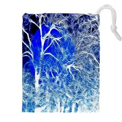 Winter Blue Moon Fractal Forest Background Drawstring Pouches (xxl) by Simbadda