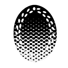 Halftone Gradient Pattern Oval Filigree Ornament (two Sides) by Simbadda