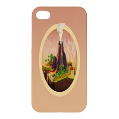 Digital Art Minimalism Nature Simple Background Palm Trees Volcano Eruption Lava Smoke Low Poly Circ Apple Iphone 4/4s Hardshell Case by Simbadda