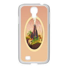 Digital Art Minimalism Nature Simple Background Palm Trees Volcano Eruption Lava Smoke Low Poly Circ Samsung Galaxy S4 I9500/ I9505 Case (white)