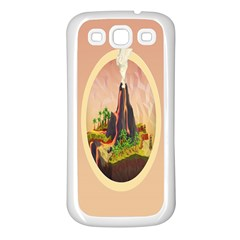 Digital Art Minimalism Nature Simple Background Palm Trees Volcano Eruption Lava Smoke Low Poly Circ Samsung Galaxy S3 Back Case (white) by Simbadda