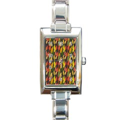 Colorful Leaves Yellow Red Green Grey Rainbow Leaf Rectangle Italian Charm Watch by Alisyart