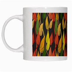 Colorful Leaves Yellow Red Green Grey Rainbow Leaf White Mugs by Alisyart