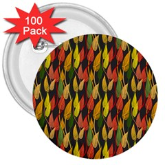 Colorful Leaves Yellow Red Green Grey Rainbow Leaf 3  Buttons (100 Pack)  by Alisyart