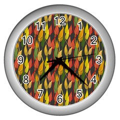 Colorful Leaves Yellow Red Green Grey Rainbow Leaf Wall Clocks (silver)  by Alisyart