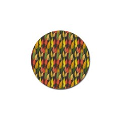 Colorful Leaves Yellow Red Green Grey Rainbow Leaf Golf Ball Marker by Alisyart