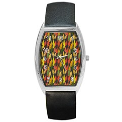Colorful Leaves Yellow Red Green Grey Rainbow Leaf Barrel Style Metal Watch by Alisyart