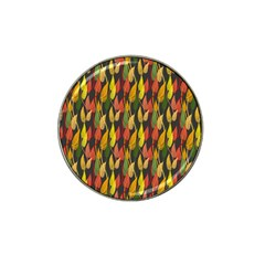 Colorful Leaves Yellow Red Green Grey Rainbow Leaf Hat Clip Ball Marker by Alisyart