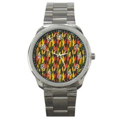 Colorful Leaves Yellow Red Green Grey Rainbow Leaf Sport Metal Watch by Alisyart
