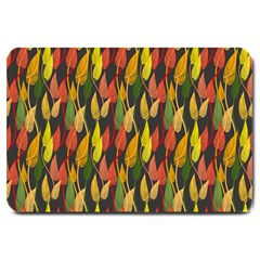 Colorful Leaves Yellow Red Green Grey Rainbow Leaf Large Doormat  by Alisyart