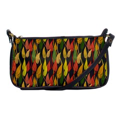 Colorful Leaves Yellow Red Green Grey Rainbow Leaf Shoulder Clutch Bags by Alisyart