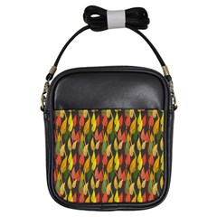 Colorful Leaves Yellow Red Green Grey Rainbow Leaf Girls Sling Bags by Alisyart