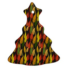 Colorful Leaves Yellow Red Green Grey Rainbow Leaf Christmas Tree Ornament (two Sides) by Alisyart