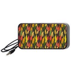 Colorful Leaves Yellow Red Green Grey Rainbow Leaf Portable Speaker (black) by Alisyart