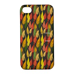 Colorful Leaves Yellow Red Green Grey Rainbow Leaf Apple Iphone 4/4s Hardshell Case With Stand by Alisyart