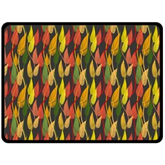 Colorful Leaves Yellow Red Green Grey Rainbow Leaf Double Sided Fleece Blanket (large)  by Alisyart