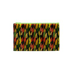 Colorful Leaves Yellow Red Green Grey Rainbow Leaf Cosmetic Bag (xs) by Alisyart