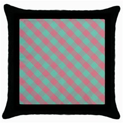 Cross Pink Green Gingham Digital Paper Throw Pillow Case (black) by Alisyart