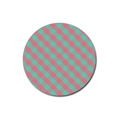 Cross Pink Green Gingham Digital Paper Rubber Coaster (round)  by Alisyart