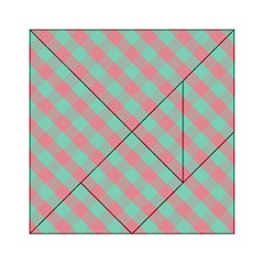 Cross Pink Green Gingham Digital Paper Acrylic Tangram Puzzle (6  X 6 ) by Alisyart