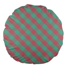 Cross Pink Green Gingham Digital Paper Large 18  Premium Round Cushions by Alisyart