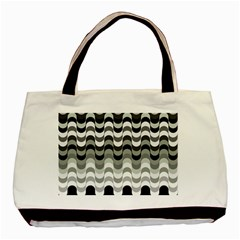 Chevron Wave Triangle Waves Grey Black Basic Tote Bag (two Sides) by Alisyart