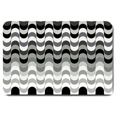 Chevron Wave Triangle Waves Grey Black Large Doormat  by Alisyart