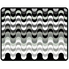 Chevron Wave Triangle Waves Grey Black Fleece Blanket (medium)  by Alisyart