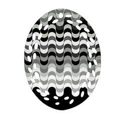 Chevron Wave Triangle Waves Grey Black Oval Filigree Ornament (two Sides) by Alisyart