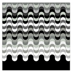 Chevron Wave Triangle Waves Grey Black Large Satin Scarf (square) by Alisyart