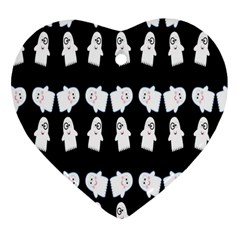 Cute Ghost Pattern Heart Ornament (two Sides) by Simbadda