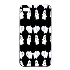 Cute Ghost Pattern Apple Iphone 4/4s Seamless Case (black) by Simbadda