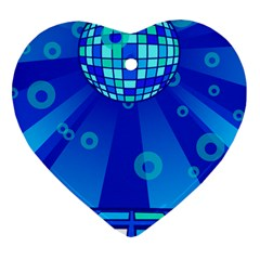 Disco Ball Retina Blue Circle Light Heart Ornament (two Sides) by Alisyart