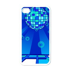 Disco Ball Retina Blue Circle Light Apple Iphone 4 Case (white) by Alisyart