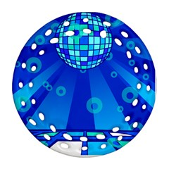 Disco Ball Retina Blue Circle Light Ornament (round Filigree) by Alisyart