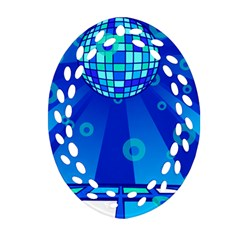 Disco Ball Retina Blue Circle Light Oval Filigree Ornament (two Sides) by Alisyart