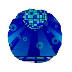 Disco Ball Retina Blue Circle Light Standard 15  Premium Round Cushions by Alisyart