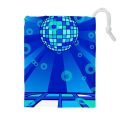 Disco Ball Retina Blue Circle Light Drawstring Pouches (extra Large) by Alisyart