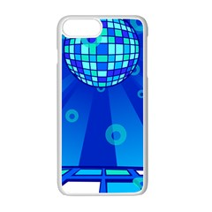 Disco Ball Retina Blue Circle Light Apple Iphone 7 Plus White Seamless Case by Alisyart