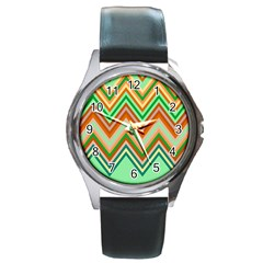 Chevron Wave Color Rainbow Triangle Waves Round Metal Watch by Alisyart