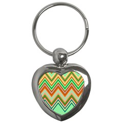 Chevron Wave Color Rainbow Triangle Waves Key Chains (heart)  by Alisyart