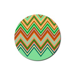 Chevron Wave Color Rainbow Triangle Waves Rubber Round Coaster (4 Pack)  by Alisyart