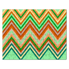 Chevron Wave Color Rainbow Triangle Waves Rectangular Jigsaw Puzzl by Alisyart