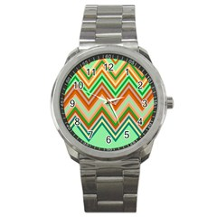 Chevron Wave Color Rainbow Triangle Waves Sport Metal Watch by Alisyart
