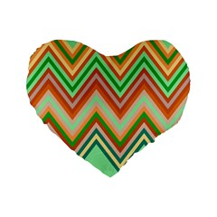 Chevron Wave Color Rainbow Triangle Waves Standard 16  Premium Flano Heart Shape Cushions by Alisyart