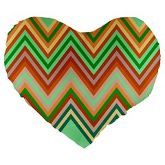 Chevron Wave Color Rainbow Triangle Waves Large 19  Premium Flano Heart Shape Cushions by Alisyart