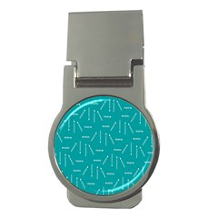 Digital Art Minimalism Abstract Candles Blue Background Fire Money Clips (round)  by Simbadda